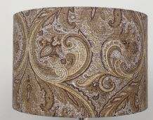 Paisley Gold / Cream  Linen Style Cylinder / Drum Lampshade